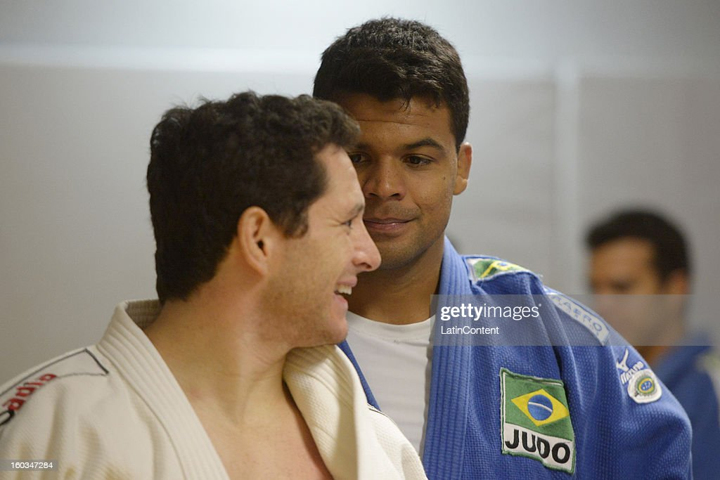 Thiago Camilo and Luciano Correa talk during the first official training season of the team, who will represent Brazil in the Olympic Games Rio 2016, at Maria Lenk Aquatic Center on January 29, 2013 in Rio de Janeiro, Brazil.