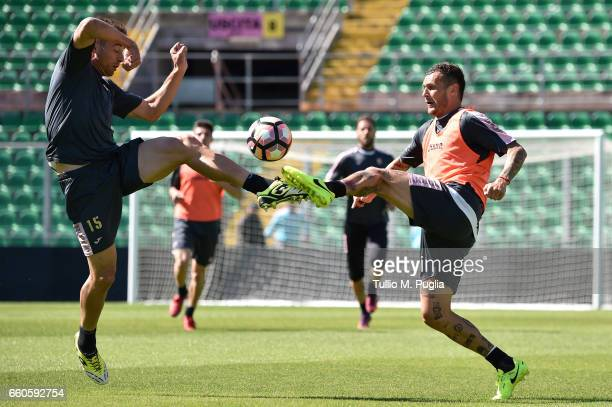 Thiago Cionek and Alessandro Diamanti in action during a US Citta' di Palermo training session at Renzo Barbera Stadium on March 30 2017 in Palermo...