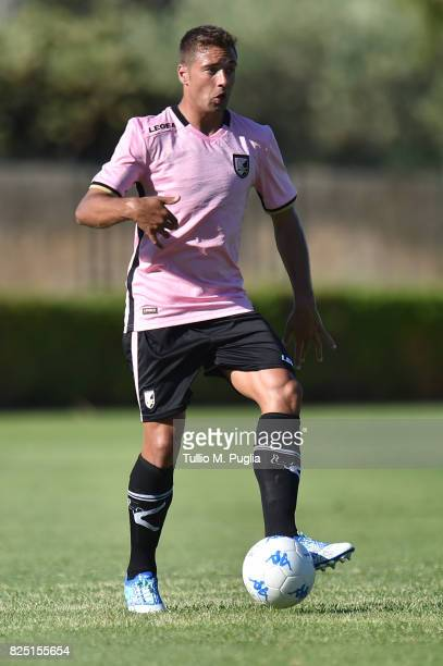 Thiago Cionek of Palermo in action during a friendly match between US Citta' di Palermo and Monreale at Carmelo Onorato training center on July 30...