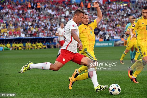 Thiago CIONEK of Poland and Roman ZOZULYA of Ukraine during the UEFA EURO 2016 Group C match between Ukraine and Poland at Stade Velodrome on June 21...