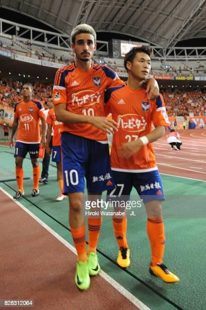 Thiago Galhardo and Yuto Horigome of Albirex Niigata react after their 02 defeat in the JLeague J1 match between Albirex Niigata and Kawasaki...