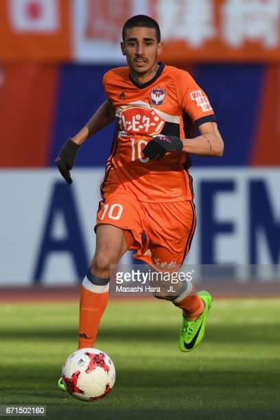 Thiago Galhardo of Albirex Niigata in action during the JLeague J1 match between Albirex Niigata and FC Tokyo at Denka Big Swan Stadium on April 22...