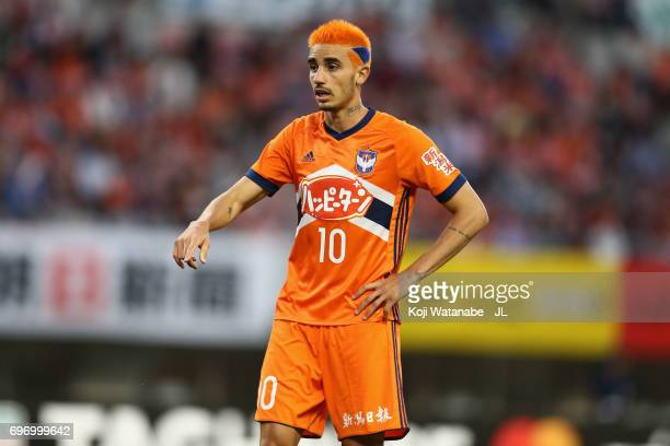Thiago Galhardo of Albirex Niigata looks on during the JLeague J1 match between Albirex Niigata and Omiya Ardija at Denka Big Swan Stadium on June 17...