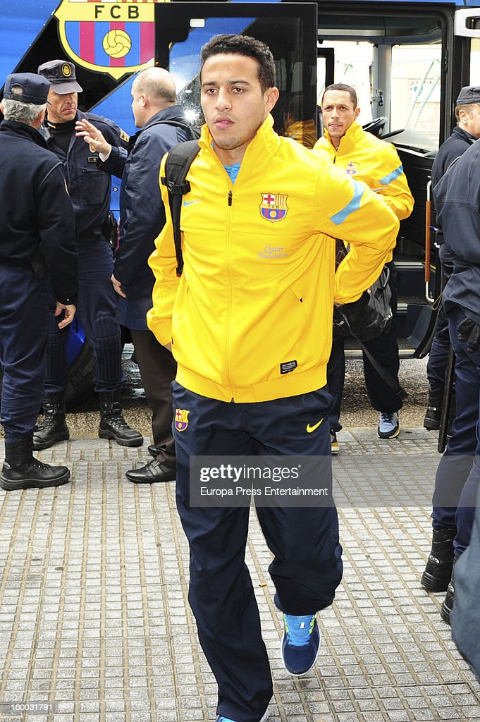 Thiago is seen arriving at hotel before the match against Malaga CF for the Copa del Rey Quarter Final on January 24, 2013 in Malaga, Spain.