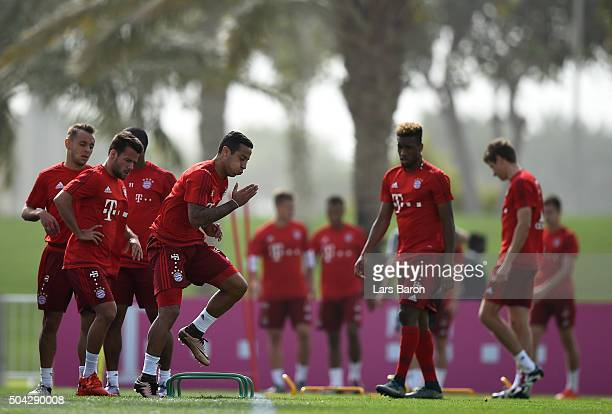 Thiago is seen during a training session at day five of the Bayern Muenchen training camp at Aspire Academy on January 10 2016 in Doha Qatar