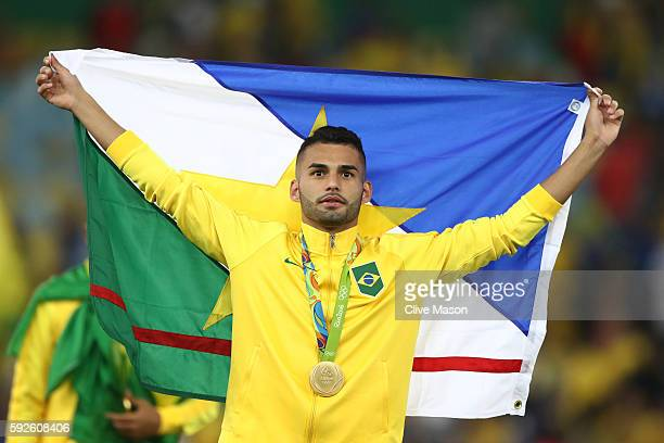 Thiago Maia of Brazil celebrates after the Men's Football Final between Brazil and Germany at the Maracana Stadium on Day 15 of the Rio 2016 Olympic...