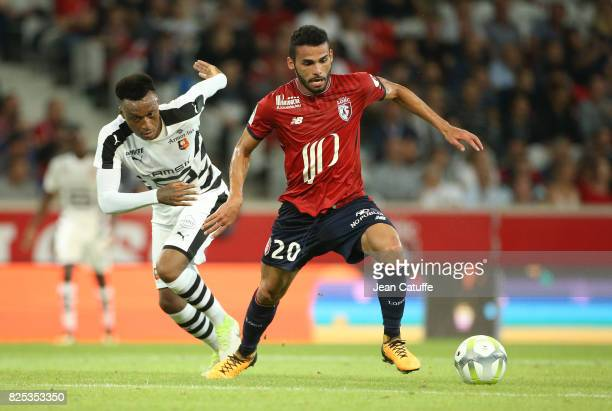 Thiago Maia of Lille and Edson Mexer of Stade Rennais during the preseason friendly match between Lille OSC and Stade Rennais FC at Stade Pierre...