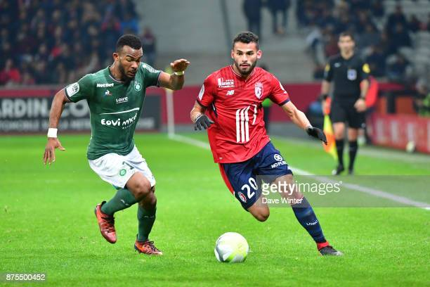 Thiago Maia of Lille and Habib Maiga of St Etienne during the Ligue 1 match between Lille OSC and AS SaintEtienne at Stade Pierre Mauroy on November...