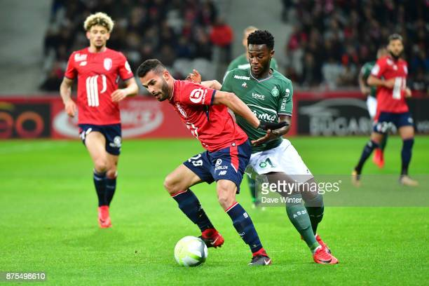Thiago Maia of Lille and Jonathan Bamba of St Etienne during the Ligue 1 match between Lille OSC and AS SaintEtienne at Stade Pierre Mauroy on...