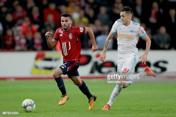Thiago Maia of Lille Lucas Ocampos of Olympique Marseille during the French League 1 match between Lille v Olympique Marseille at the Stade Pierre...