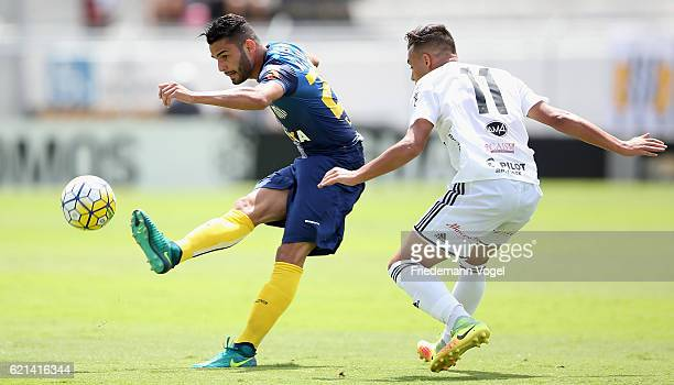 Thiago Maia of Santos fights for the ball with Maycon of Ponte Preta during the match between Ponte Preta and Santos for the Brazilian Series A 2016...