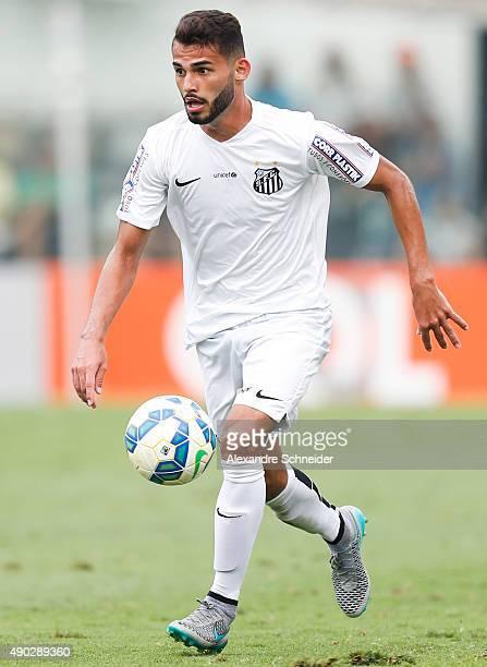 Thiago Maia of Santos in action during the match between Santos and Internacional for the Brazilian Series A 2015 at Vila Belmiro stadium on...
