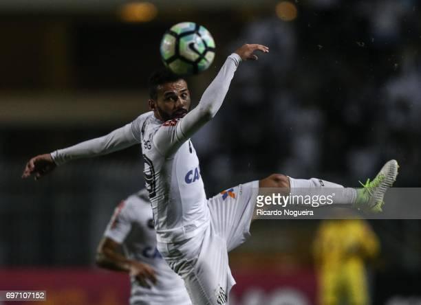 Thiago Maia of Santos kicks the ball during the match between Santos and Ponte Preta as a part of Campeonato Brasileiro 2017 at Pacaembu Stadium on...