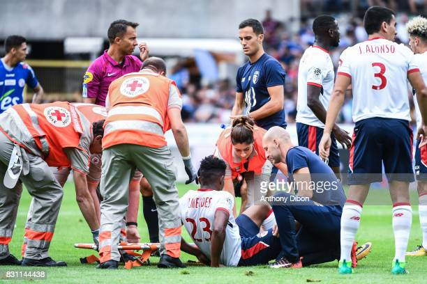 Thiago Mendes Ribeiro of Lille injured during the Ligue 1 match between Racing Club Strasbourg and Lille OSC at Stade de la Meinau on August 13 2017...