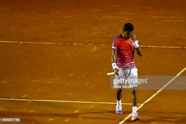 Thiago Monteiro of Brazil laments lost a point against Casper Ruud of Norway during the quarter finals of the ATP Rio Open 2017 at Jockey Club...