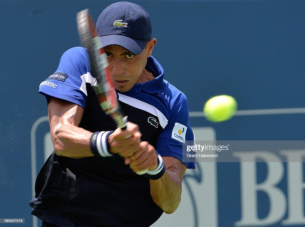 Thiago Montiero of Brazil plays returns a shot to Tim Smyczek of the United States during the BBT Atlanta Open at Atlantic Station on August 1 2016...