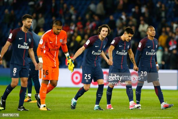 Thiago Motta Alphonse Aerola Adrien Rabiot Yuri Berchiche and Kylian MBappe of PSG celebrate his victory during the Ligue 1 match between Paris Saint...