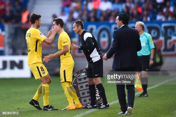Thiago Motta and Giovano Lo Celso of PSG during the Ligue 1 match between Montpellier Herault SC and Paris Saint Germain at Stade de la Mosson on...