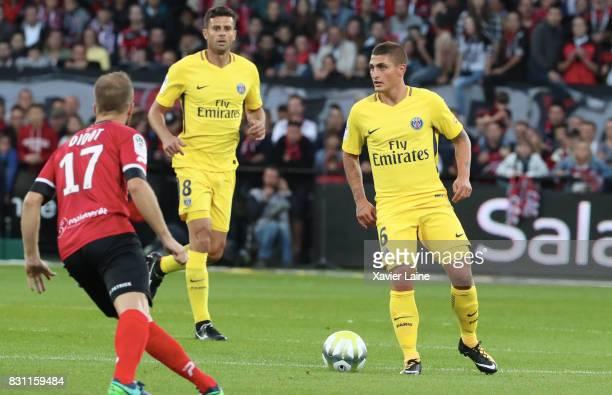 Thiago Motta and Marco Verratti of Paris SaintGermain during the French Ligue 1 match between EA Guingamp and Paris Saint Germain at Stade du...