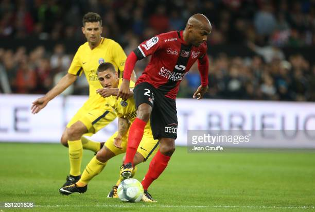 Thiago Motta Marco Verratti of PSG Jimmy Briand of Guingamp during the French Ligue 1 match between En Avant Guingamp and Paris Saint Germain at...