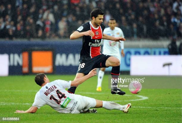 Thiago MOTTA / Mehdi MOSTEFA Paris Saint Germain / Ajaccio 26e journee Ligue 1 Photo Dave Winter / Icon Sport