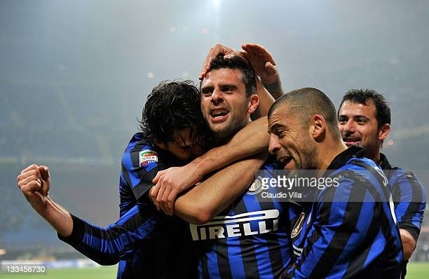Thiago Motta of FC Inter Milan celebrates scoring the first goal during the Serie A match between FC Internazionale Milano and Cagliari Calcio at...