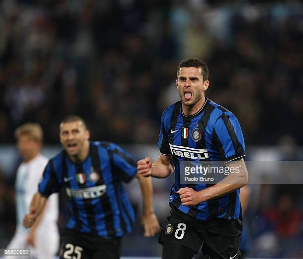 Thiago Motta of FC Internazionale Milano celebrates after scoring the second goal during the Serie A match between SS Lazio and FC Internazionale...