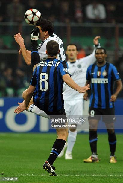 Thiago Motta of Inter Milan clashes with Michael Ballack of Chelsea during the UEFA Champions League round of 16 first leg match between Inter Milan...