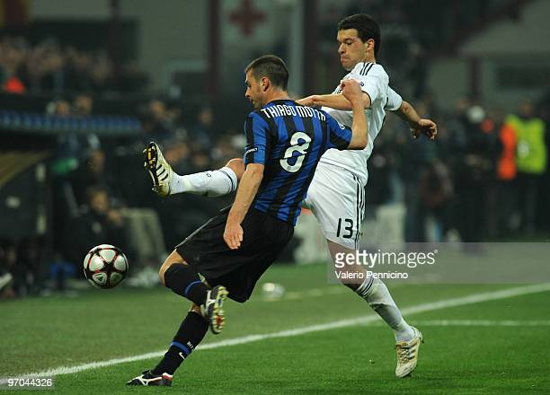 Thiago Motta of Inter Milan is challenged by Michael Ballack of Chelsea during the UEFA Champions League round of 16 first leg match between Inter...