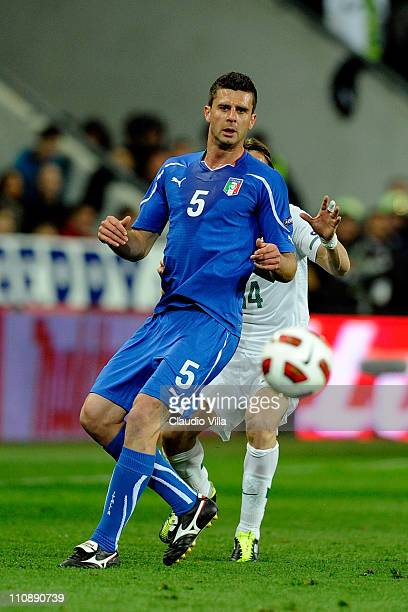 Thiago Motta of Italy competes for the ball during the UEFA EURO 2012 qualifier between Slovenia and Italy on March 25 2011 in Ljubljana Slovenia