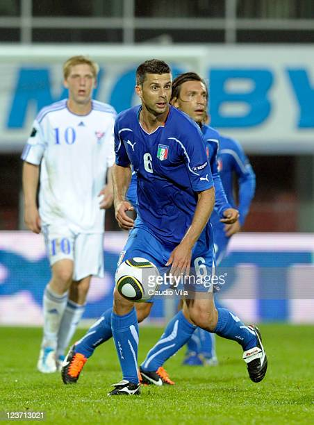 Thiago Motta of Italy in action during the EURO 2012 Qualifier match between Faroe Islands and Italy at Torsvollur Stadium on September 2 2011 in...
