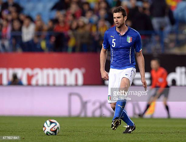 Thiago Motta of Italy in action during the international friendly match between Spain and Italy at Vicente Calderon Stadium on March 5 2014 in Madrid...