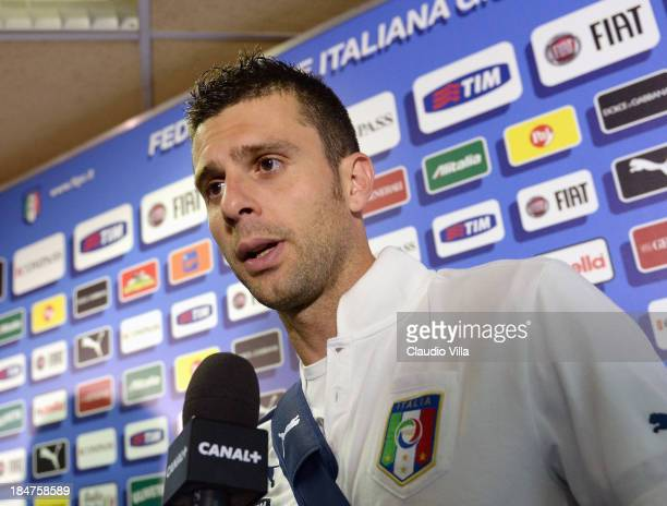 Thiago Motta of Italy is interviewed in the mixed zone after the FIFA 2014 World Cup qualifier group B match between Italy and Armenia at Stadio San...