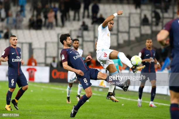 Thiago Motta of Paris and Dimitri Payet of Marseille during the Ligue 1 match between Olympique Marseille and Paris Saint Germain at Stade Velodrome...