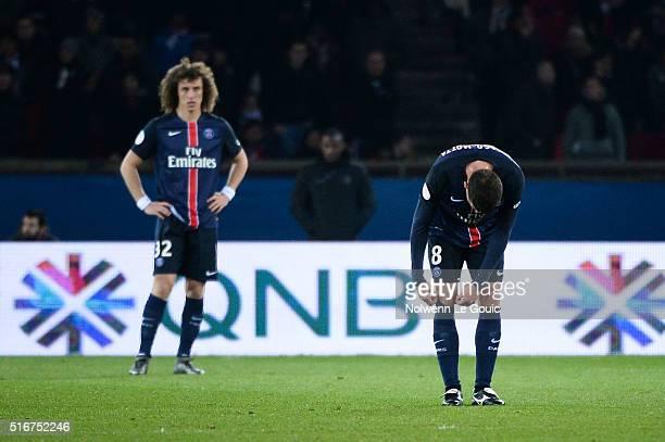 Thiago Motta of Paris Saint Germain is dejected during the French Ligue 1 match between Paris SaintGermain v AS Monaco at Parc des Princes on March...