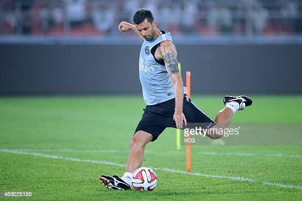 Thiago Motta of Paris SaintGermain attends a training session ahead of the French Super Cup football match against Guingamp at the Workers Stadium on...