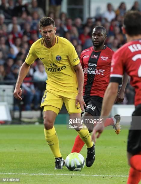 Thiago Motta of Paris SaintGermain during the French Ligue 1 match in action between EA Guingamp and Paris Saint Germain at Stade du Roudourou on...