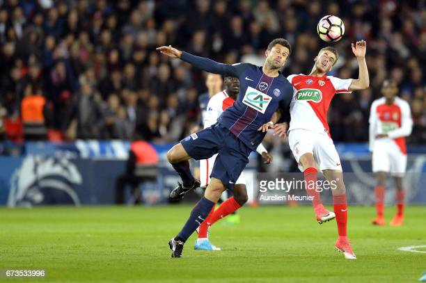 Thiago Motta of Paris SaintGermain fights for the ball during the French Cup SemiFinal match between Paris SaintGermain and As Monaco at Parc des...