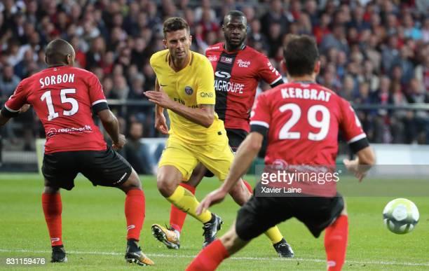 Thiago Motta of Paris SaintGermain in action during the French Ligue 1 match between EA Guingamp and Paris Saint Germain at Stade du Roudourou on...