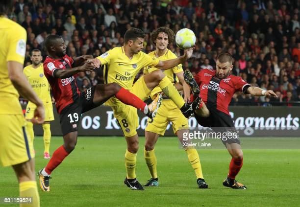 Thiago Motta of Paris SaintGermain in action with Adrien Rabiot during the French Ligue 1 match in action between EA Guingamp and Paris Saint Germain...