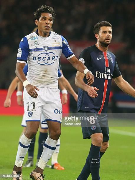 Thiago Motta of Paris SaintGermain in action with Brandao of SC Bastia during the French Ligue 1 between Paris SaintGermain and SC Bastia at Parc Des...