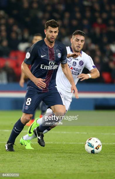 Thiago Motta of PSG and Andy Delort of Toulouse in action during the French Ligue 1 match between Paris SaintGermain and Toulouse FC at Parc des...