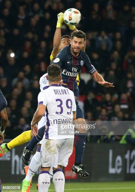 Thiago Motta of PSG and goalkeeper of Toulouse Alban Lafont in action during the French Ligue 1 match between Paris SaintGermain and Toulouse FC at...