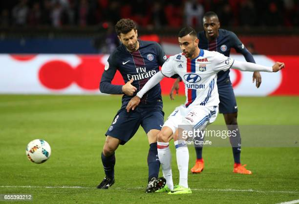 Thiago Motta of PSG and Rachid Ghezzal of Lyon in action during the French Ligue 1 match between Paris SaintGermain and Olympique Lyonnais at Parc...