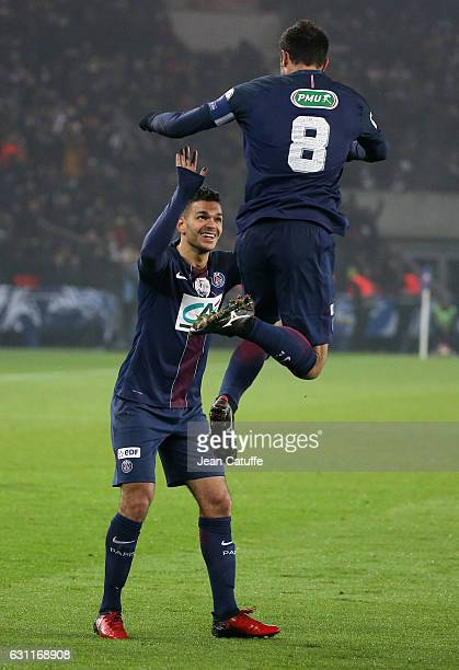 Thiago Motta of PSG celebrates his goal with Hatem Ben Arfa during the French Cup match between Paris SaintGermain and SC Bastia at Parc des Princes...