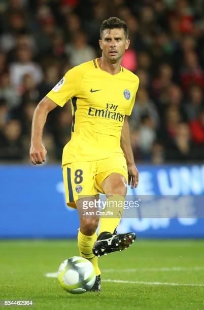 Thiago Motta of PSG during the French Ligue 1 match between En Avant Guingamp and Paris Saint Germain at Stade de Roudourou on August 13 2017 in...