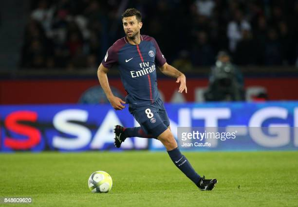Thiago Motta of PSG during the French Ligue 1 match between Paris Saint Germain and Olympique Lyonnais at Parc des Princes on September 17 2017 in...