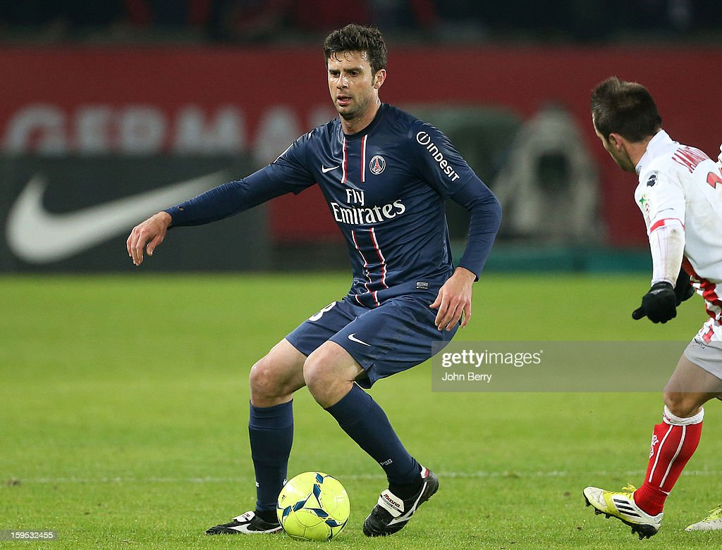 Thiago Motta of PSG in action during the French Ligue 1 match between Paris Saint Germain FC and AC Ajaccio at the Parc des Princes stadium on January 11, 2013 in Paris, France.