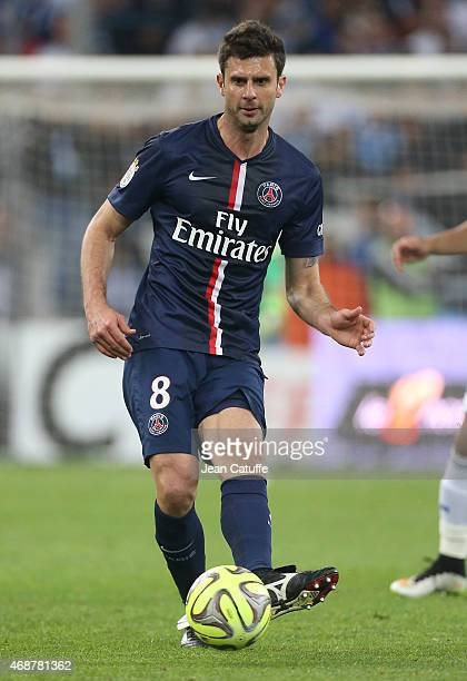 Thiago Motta of PSG in action during the French Ligue 1 match between Olympique de Marseille and Paris SaintGermain at New Stade Velodrome on April 5...