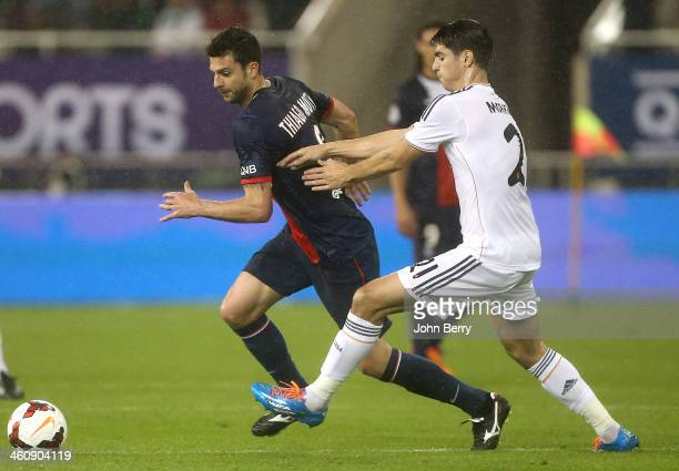 Thiago Motta of PSG in action during the friendly match between Paris SaintGermain FC and Real Madrid at the Khalifa Stadium on January 2 2014 in...